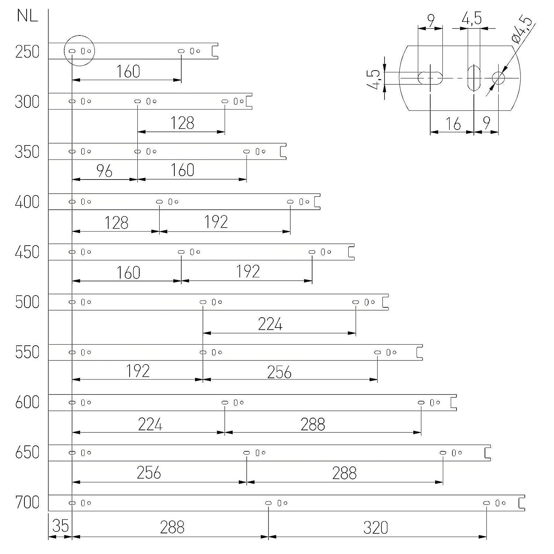 1 pieza Gu/ía de Caj/ón Extracci/ón total Alto 45 L 500 mm 40 kg Capacidad de Carga Riel de Caj/ón Gu/ía Telesc/ópica Carril de Caj/ón de SO-TECH