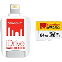 Strontium Nitro 64GB Micro SDXC UHS-1 Memory Card with iDrive Card Reader with Lightning Connector for iPads, iPhones…