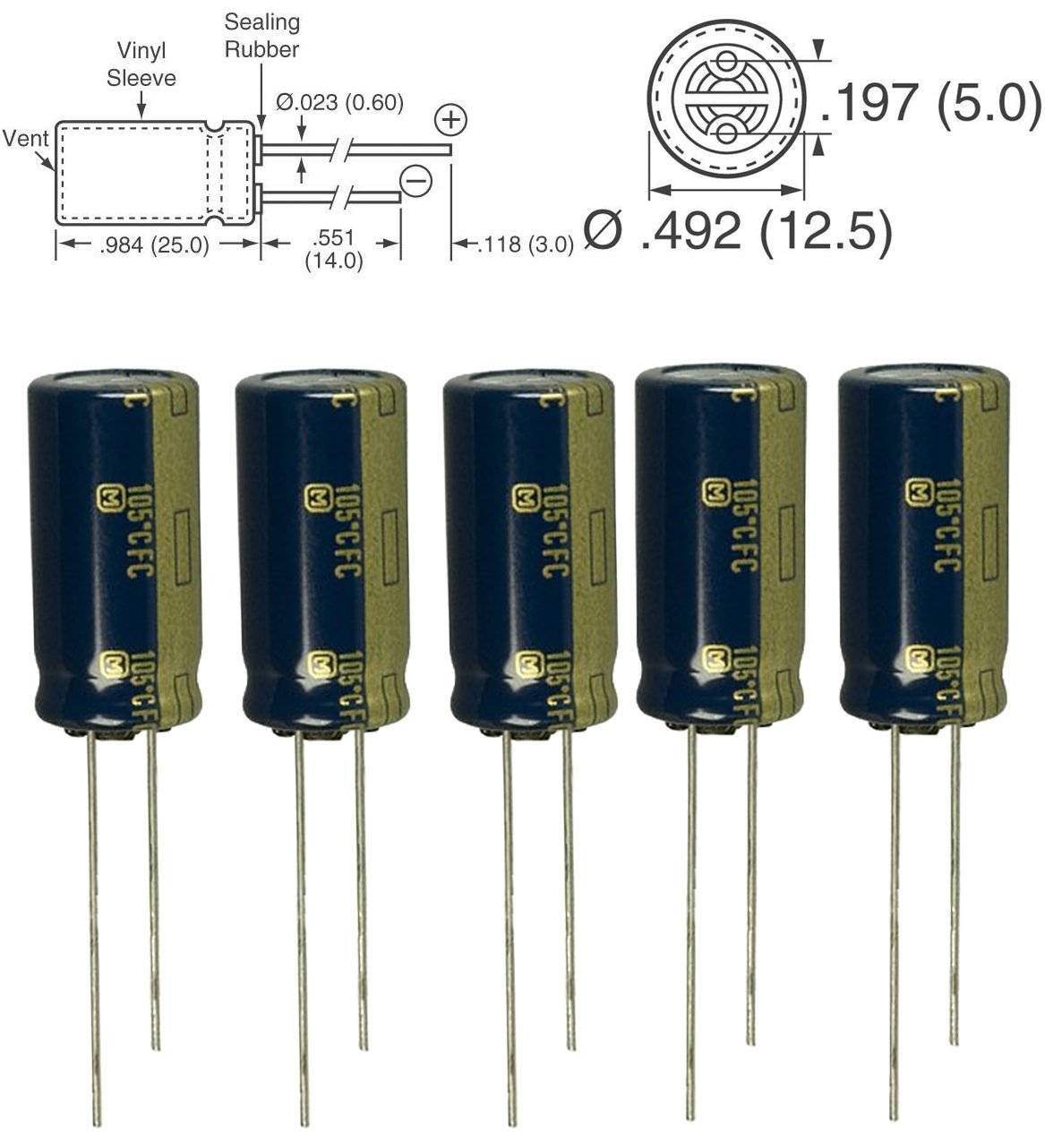 2000 hours @ 105C 5pcs Panasonic FC 220uF 25v 105c Radial Electrolytic Capacitor Low ESR