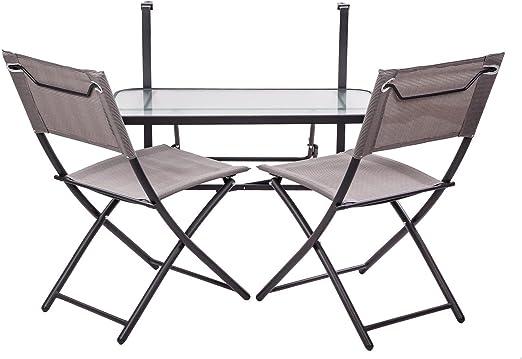 colourliving® Set colgante mesa con 2 sillas plegables. Balcón Terraza Muebles Terraza Balcón: Amazon.es: Jardín