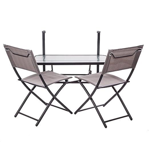 colourliving® Set colgante mesa con 2 sillas plegables. Balcón ...