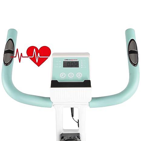 Ultrasport F-Bike Advanced Bcicleta estática y Fitness sillín de Gel, portabidones y bidón, Pantalla LCD, sensores de Pulso, compacta y Plegable, ...