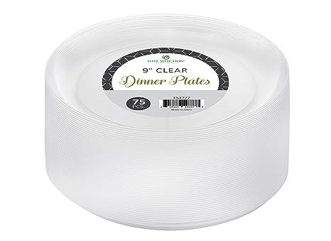 Elite selección 9 Inch platos desechables (plástico duro transparente Partido Cena 75 Count