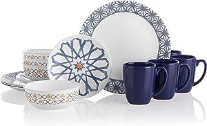 Corelle Amalfi Azul Chip & Break Resistant 16pc Dinner Set, Service for 4