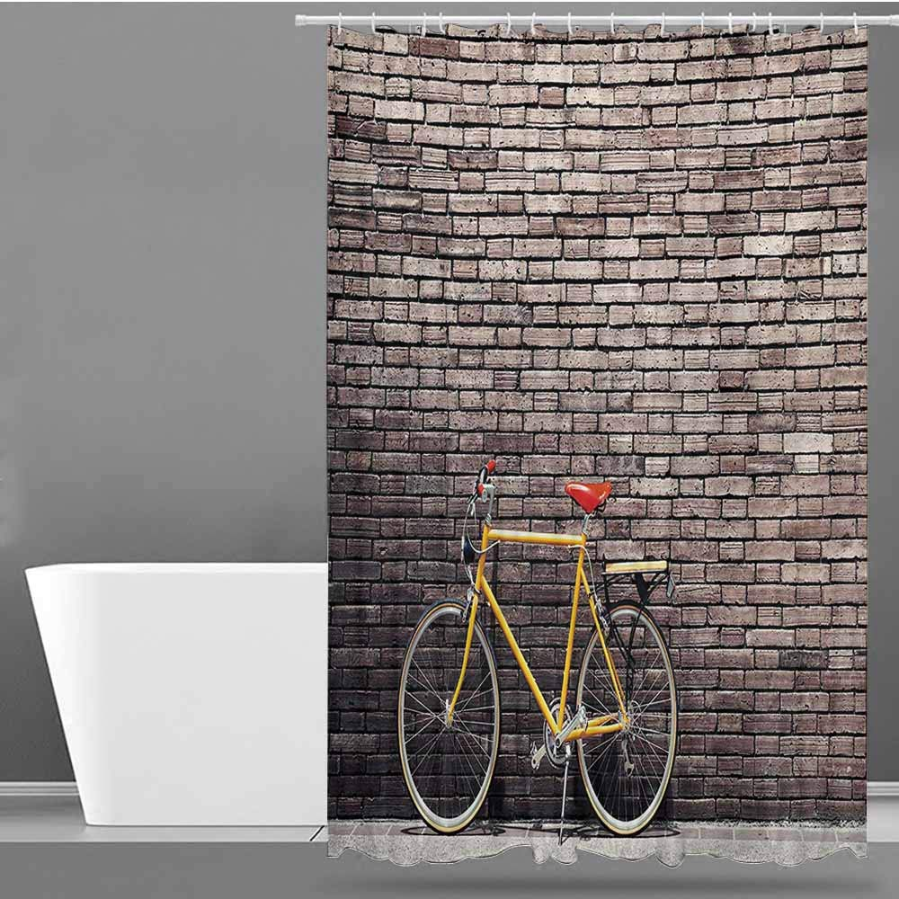 Bathtub Splash Guard,Bicycle Past Times Aesthetic Road Bike Lean Brick Wall Outdoor Daily Town Life Photo,Waterproof Colorful Funny,W72x96L,Grey Yellow Red by Tim1Beve