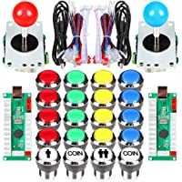 EG STARTS 2 Player Classic Arcade Contest DIY Kits USB Encoder To PC Joystick + 8 Ways Sticker + Chrome Plating LED…