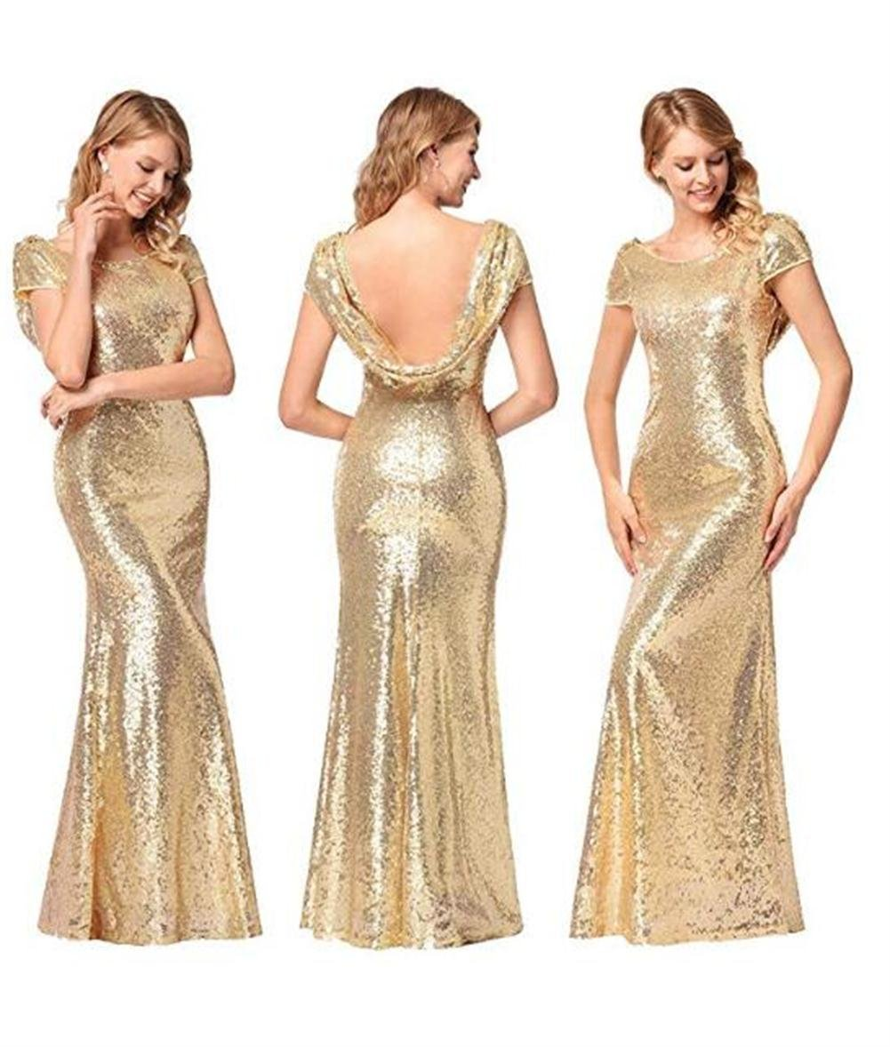 Luyeiand Rose Gold Sequin Bridesmaid Dresses Mermaid Sparkly Backless Wedding Party Gown,Gold,X-Large by Luyeiand (Image #2)