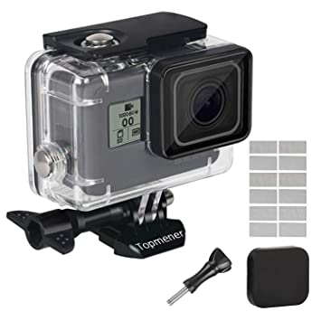 Topmene Carcasa para GoPro Hero7 Black / (2018) 6 /5 Negro Carcasa Impermeable Protectora para Buceo 45m con Soporte, empulgueras, cubierta de lente y ...