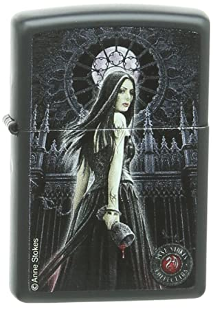 Amazon.com : Zippo Pocket Lighter Anne Stokes Woman with Cup Pocket Lighter, Black Matte : Sports & Outdoors