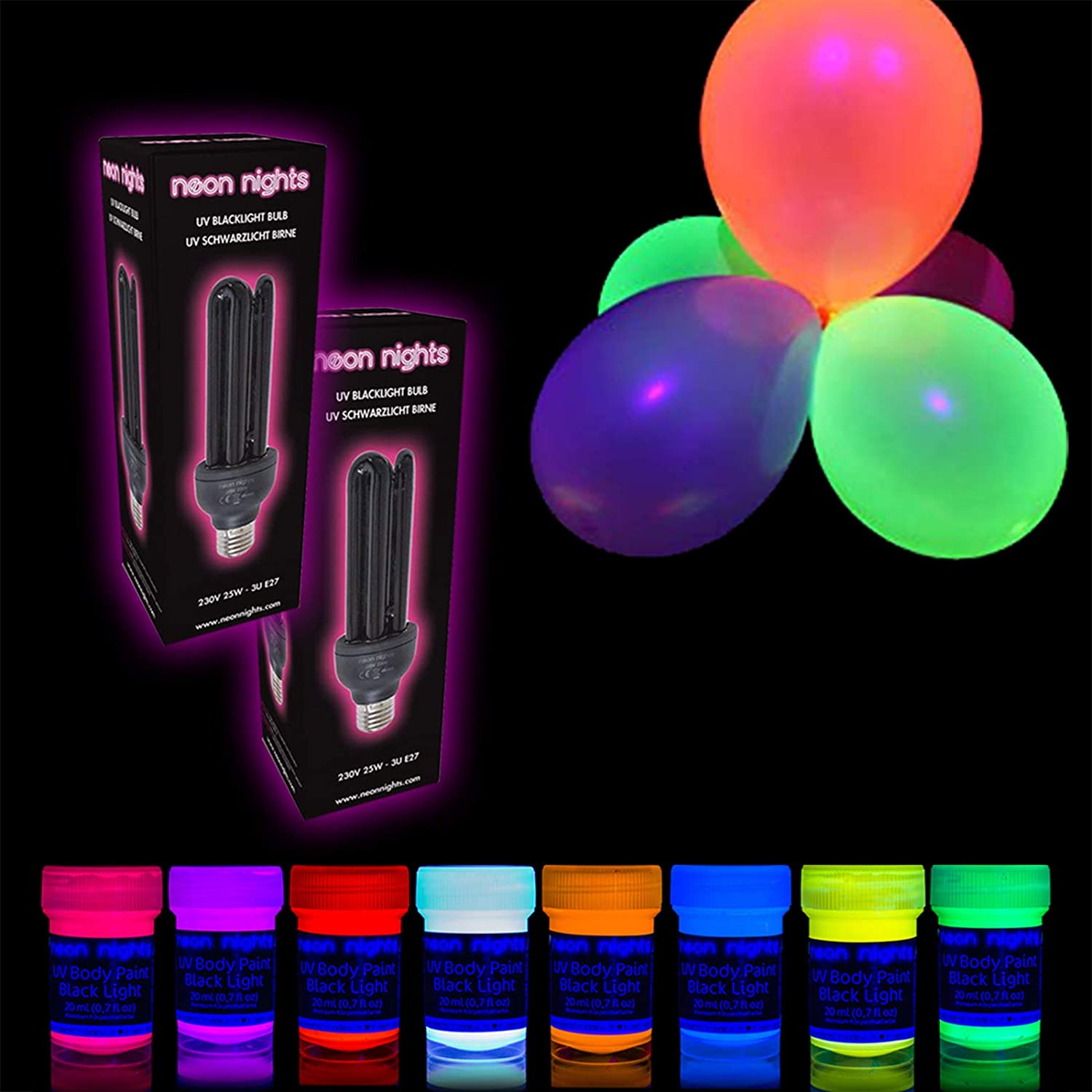 Black Light Bulbs Blacklight Decoration Box Party Set neon nights Fun-Pack 65 pieces with UV Body Paint T-Shirts Fabric Glow Paints Brushes XL