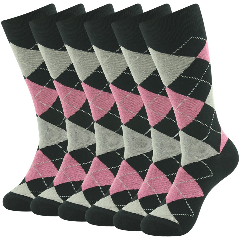 Argyle Dress Socks, SUTTOS Men Argyle Crew Socks Business Suit Socks, Ultimate Charged Cotton Knit Comfortable Pink Black Jacquard Plaid Argyle Dress Socks for Wedding Groomsmen Gifts,6 Pairs