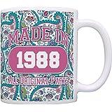 30th Birthday Gift Made 1988 Paisley Birthday Mug Decorations Gift Coffee Mug Tea Cup Paisley