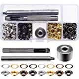 Grommets Eyelets Kit, 120 Sets Metal Grommet Eyelets with 3 Pieces Install Tool Kit and Storage Box, Perfect for Canvas…