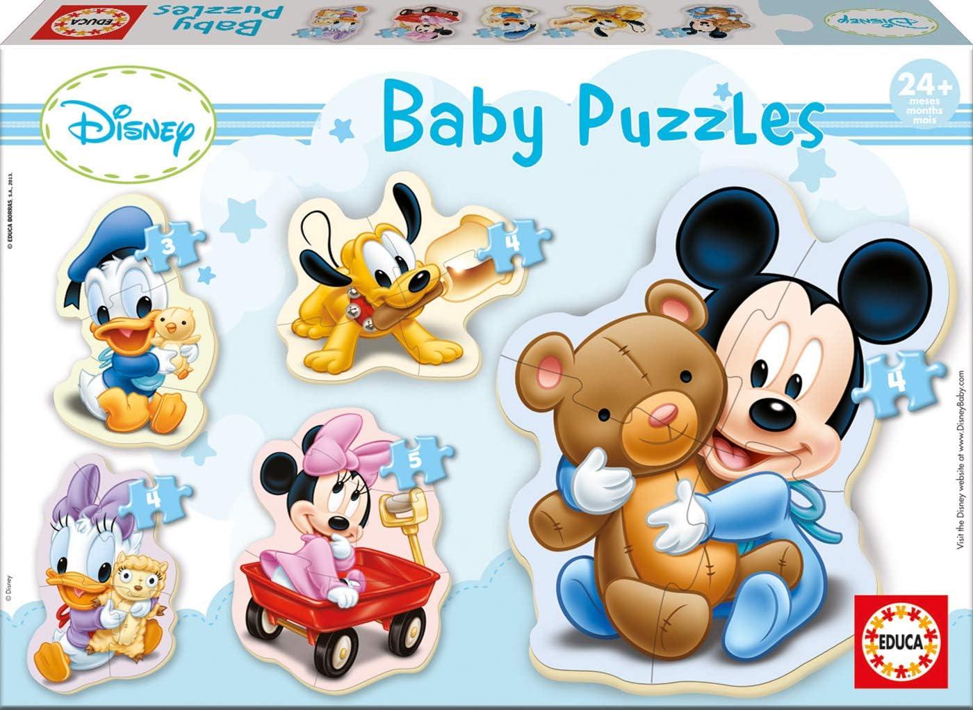 Educa - Baby Puzzles, puzzle infantil Baby Mickey, 5 puzzles progresivos de 3 a 5 piezas, a partir de 24 meses (13813)