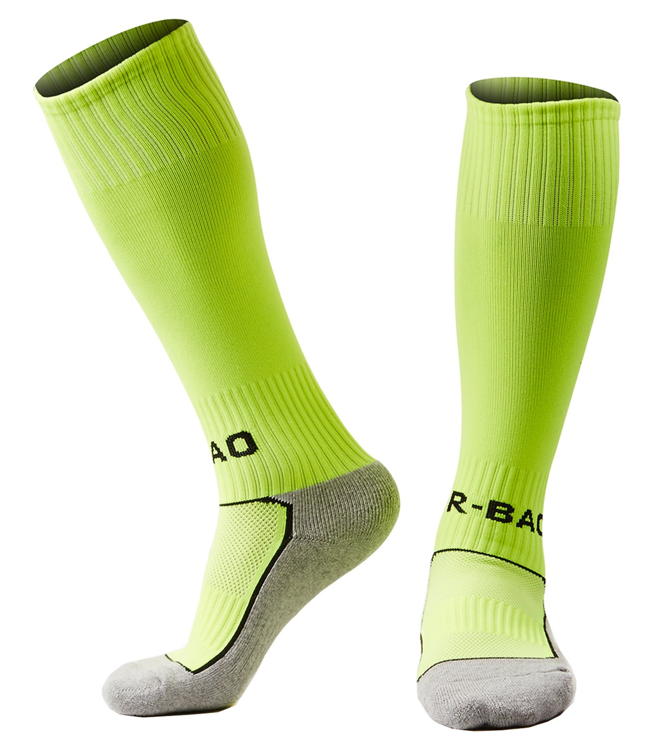 laventoボーイズ/ガールズクッションover the calf Soccer Socks B07BGYS5M9 M (Youth's shoes size 2Y-6)|1 Pack-Neon green 1 Pack-Neon green M (Youth's shoes size 2Y-6)