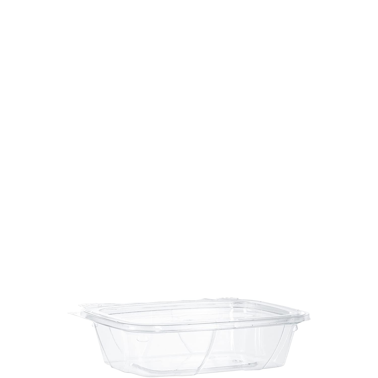 DART CH24TF 24 oz Tamper-Resistant Clear Hinged Container with Flat Lid (Pack of 200)