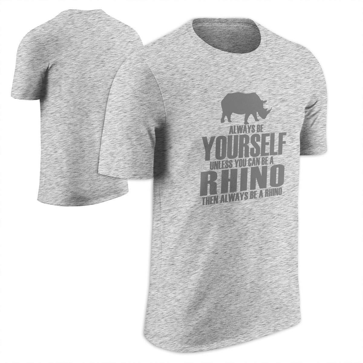 5c142aaabd175 Top1  Animal World Always Be Yourself Rhino Black Adult T-Shirt