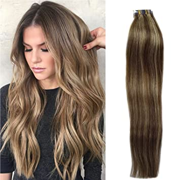 Amazon Com 18 Tape In Hair Extensions Remy Human Hair Brown To