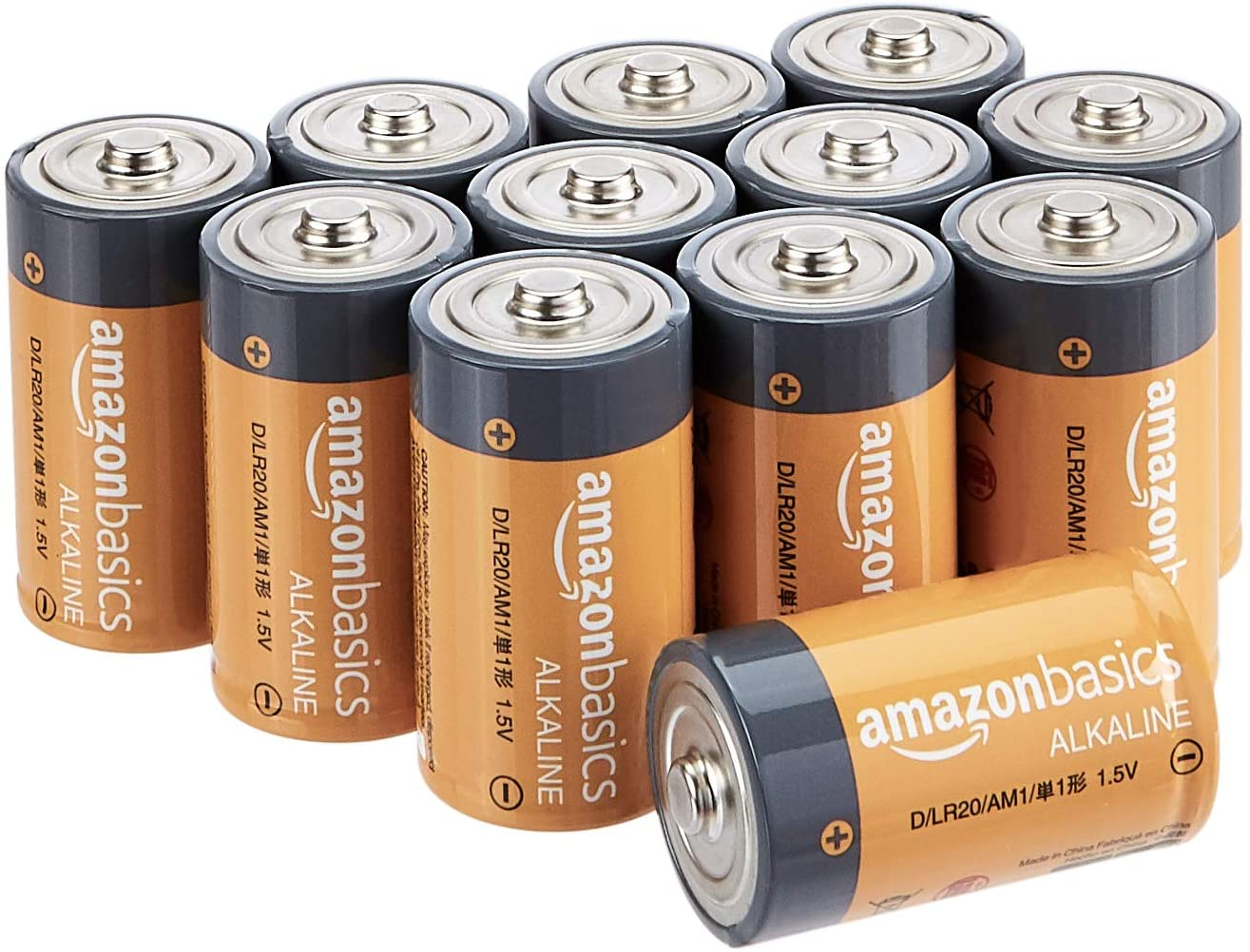 Basics D Cell 1.5 Volt Everyday Alkaline Batteries - Pack of 12 (Packaging may vary): Health & Personal Care