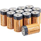 AmazonBasics D Cell 1.5 Volt Everyday Alkaline Batteries - Pack of 12 (Packaging may vary)
