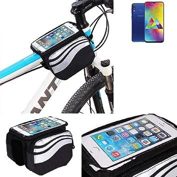 K-S-Trade® Bolso Bolsa Funda Bicicleta para Samsung Galaxy M20, Teléfono Móvil Funda Móvil Soporte Tubo Bici Ciclismo, Negro Y Plata, Impermeable Resistente Al Agua: Amazon.es: Electrónica