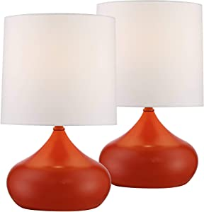 "Mid Century Modern Accent Table Lamps 14 3/4"" High Set of 2 Orange Steel Droplet White Drum Shade for Bedroom Bedside - 360 Lighting"