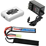 Tenergy Airsoft Battery Pack and LiPo/Life Balance Charger, 7.4V 1000mAh 20C LiPo Battery Pack, Split Type Butterfly Battery