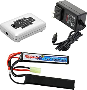 Tenergy Airsoft Battery Pack and LiPo/Life Balance Charger, 7.4V 1000mAh 20C LiPo Battery Pack, Split Type Butterfly Battery Pack with Mini Tamiya Connector