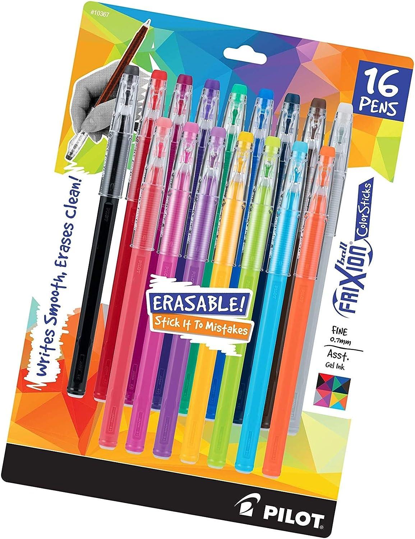 10367 Fine Point PILOT FriXion ColorSticks Erasable Gel Ink Stick Pens 16-Pack Pack of 1 Assorted Color Inks