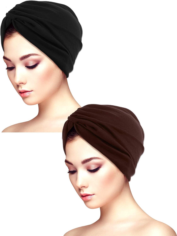 Sombreros de Turbante Suaves para Dormir de 2 Piezas Sombrero Turbante Estampado Sombrero del Sue/ño Gorro para la Mujer