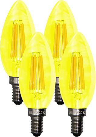 Sleeklighting 5 Watt E12 Led Filament Candelabra Yellow Light Bulb 60w Incandescent Replacement Chandelier Torpedo Tip Clear Glass Cover E12 Base 4pack Amazon Com