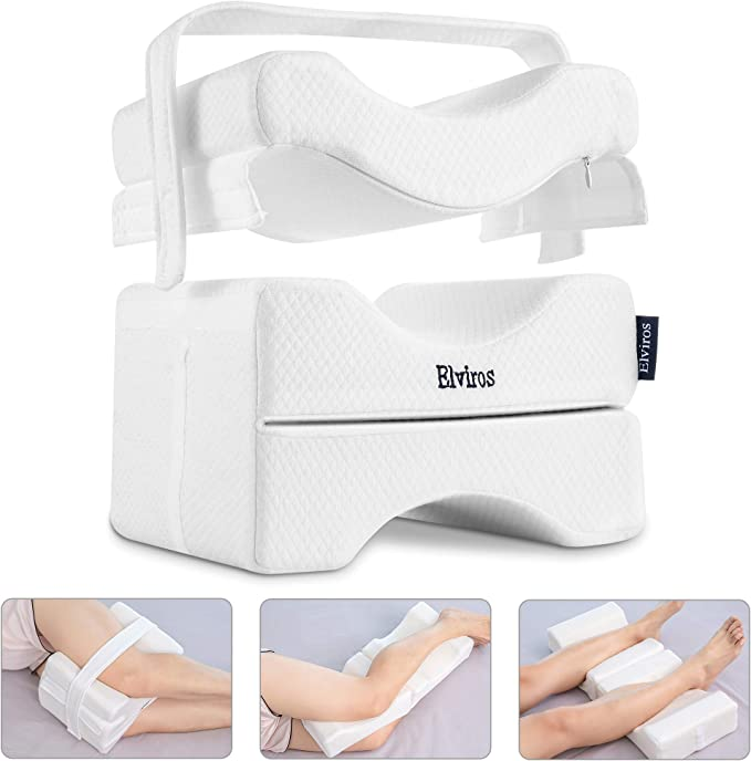Wedge Contour Leg Pillow with Adjustable and Removable Strap for Side Sleepers Multi Position Use Uzsoeey Memory Foam Knee Pillow