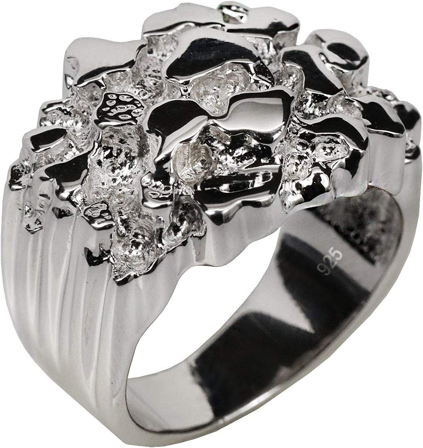 Harlembling Solid 925 Sterling Silver Men's Silver Ring - Nugget Ring - Pinky or Ring Finger - Sizes 7-13