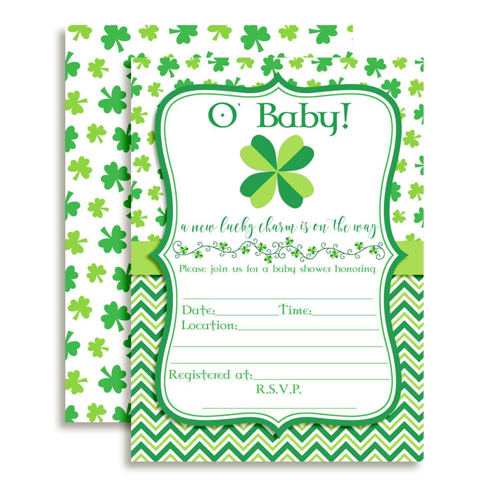 Amanda Creation O' Baby St. Patrick's Day Baby Shower Fill in Invitations Set of 20 envelopes