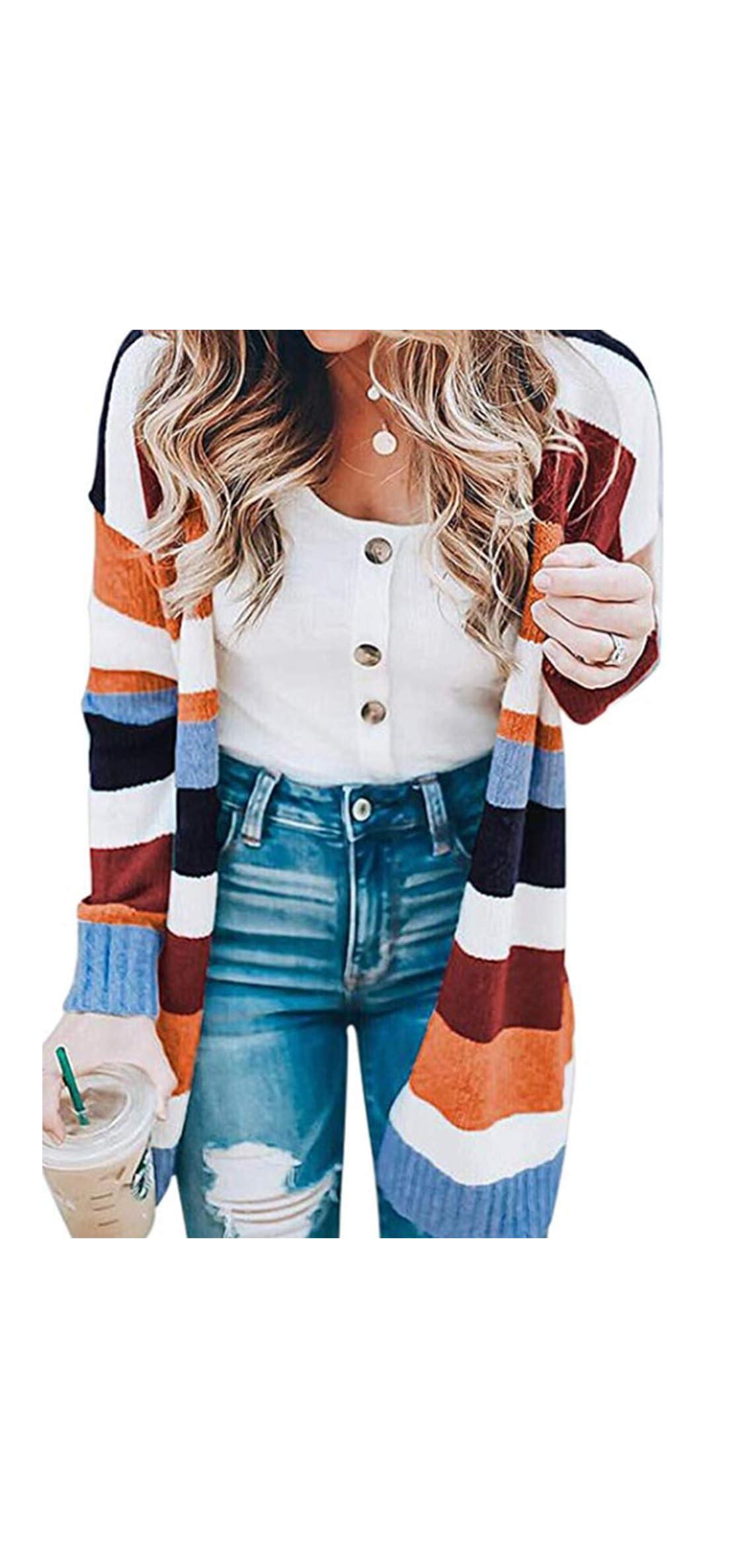 Womens Open Front Long Cardigan Strip Color Block Long