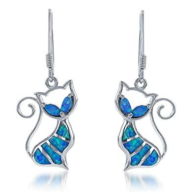 0a9e7c87b Amazon.com: Sterling Silver Created Blue Opal Cat Dangle Earrings ...