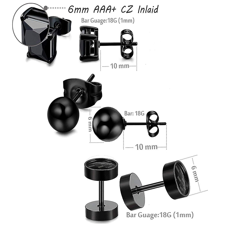 YADOCA 10 Pairs Stainless Steel Earrings for Men Women Hoop Huggie Round Ball Stud Earring Black Tone Ear Piercing