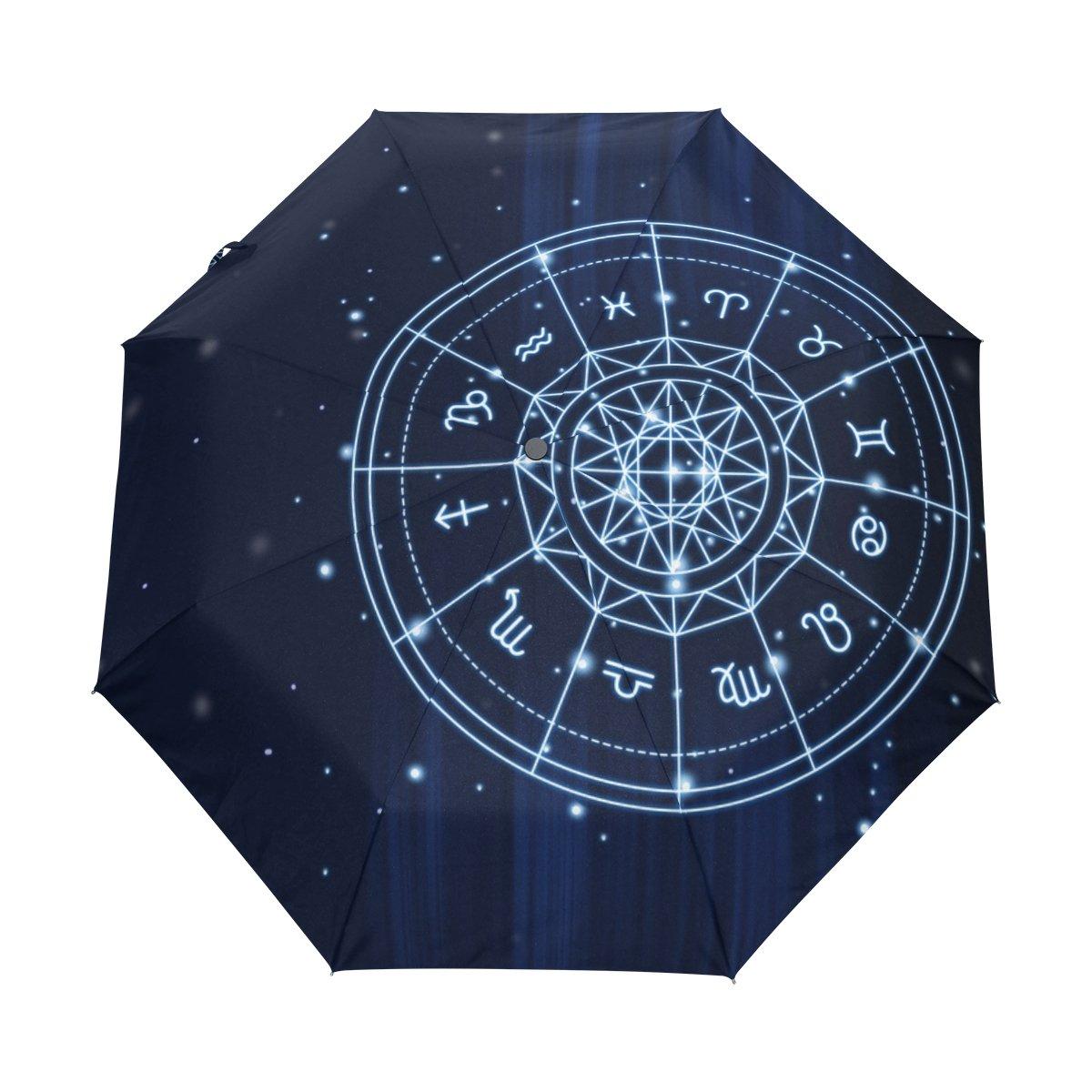 Senya Saobao防風と防雨トラベル傘with Zodiacポータブル折りたたみ式太陽の自動開いて閉じ折りたたみ背景雨傘 B07FFTKDT5