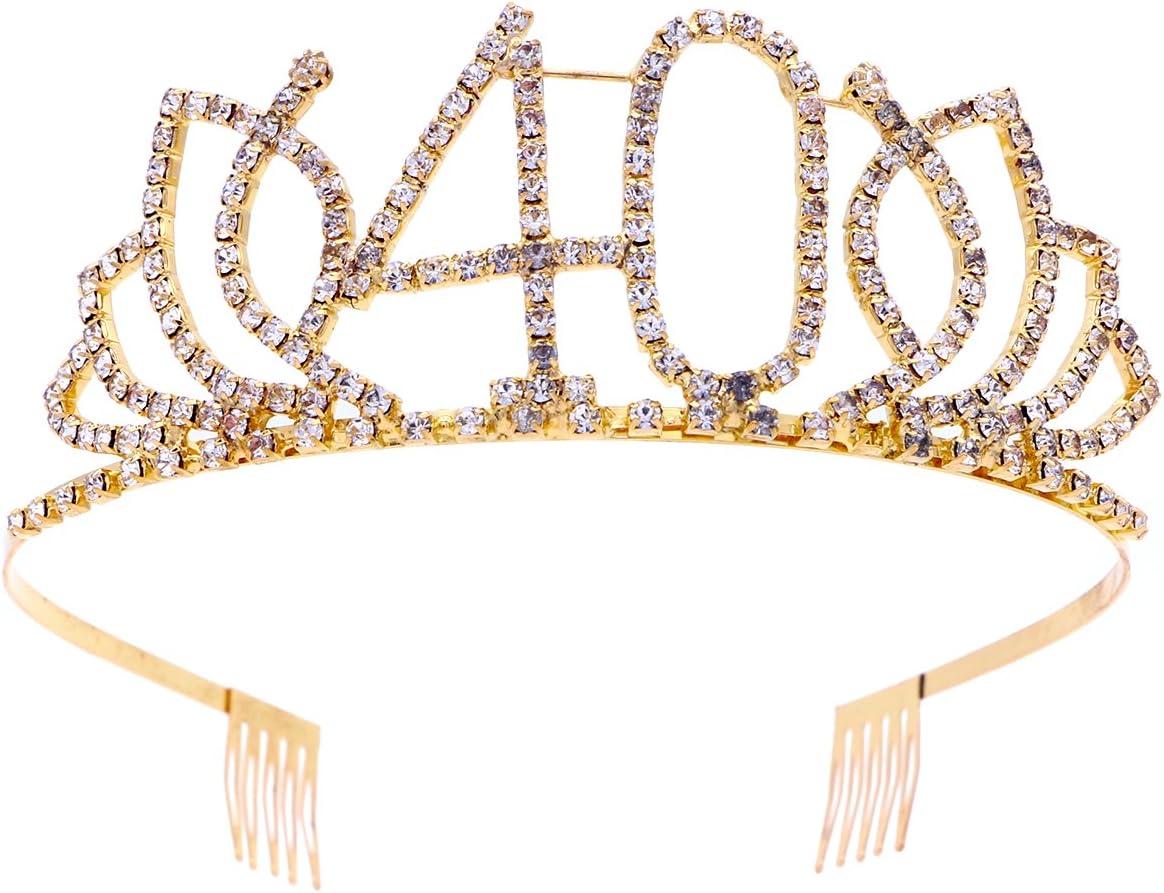 Frcolor Cumpleaños Tiara, Diamantes de imitación 40.as coronas de cumpleaños Feliz 40.o cumpleaños (Oro)