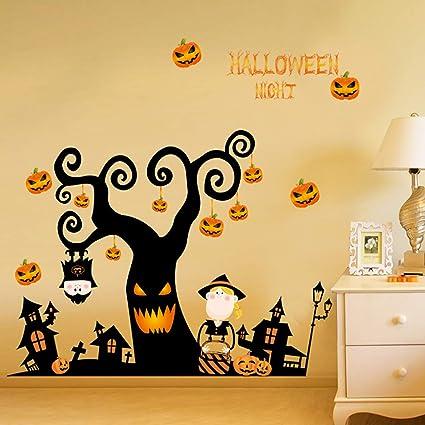 M Sunflower Happy Halloween Windows Stickers Wall Decals Pumpkin Lantern Tree Stickers Halloween Tree Glass