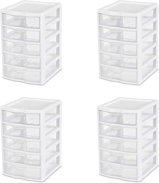 Sterilite 1 New 20758004 Clearview Small 5 Drawer Desktop Storage Unit White Storage Bins Baskets Home Garden Worldenergy Ae
