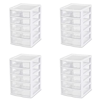 Amazoncom Sterilite 20758004 Small 5 Drawer Unit White Frame With