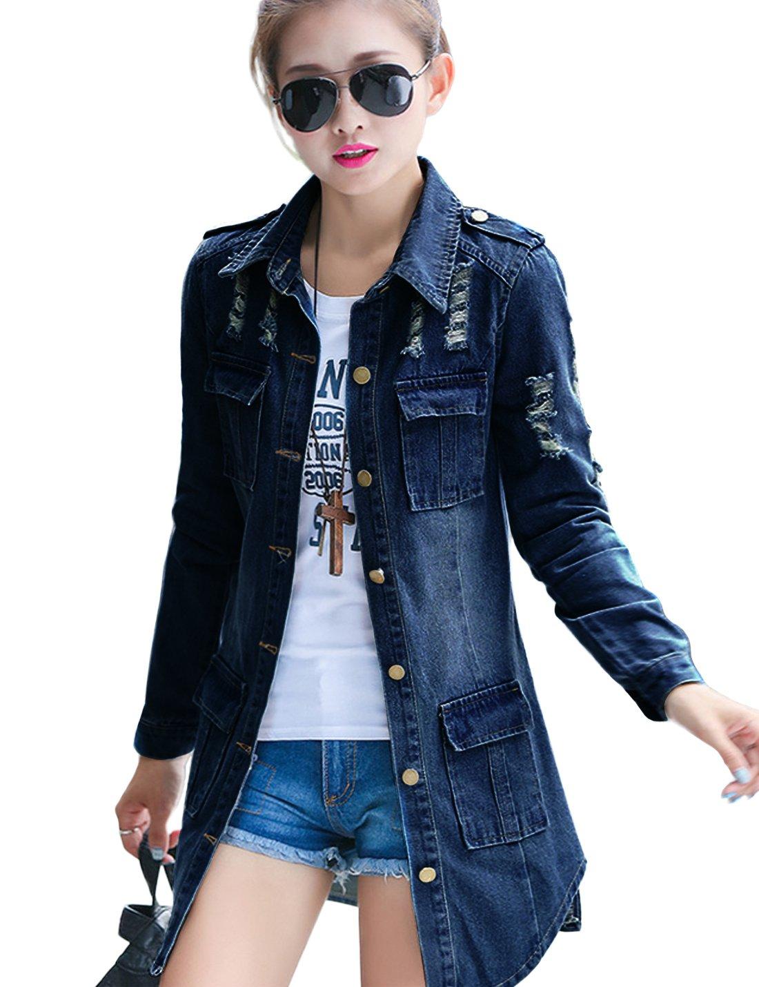 Uaneo Women's Fashion Lapel Slim Denim Jacket Outercoat Windbreaker (Large, Dark Blue)