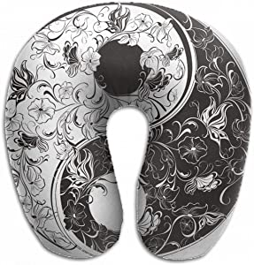 Emvency U-Shaped Travel Neck Support Pillow Floral Yin Yang Symbol Tattoo Airplane 12x11.5 Inch Soft U-Pillows with Rebound Material for Kids Adults
