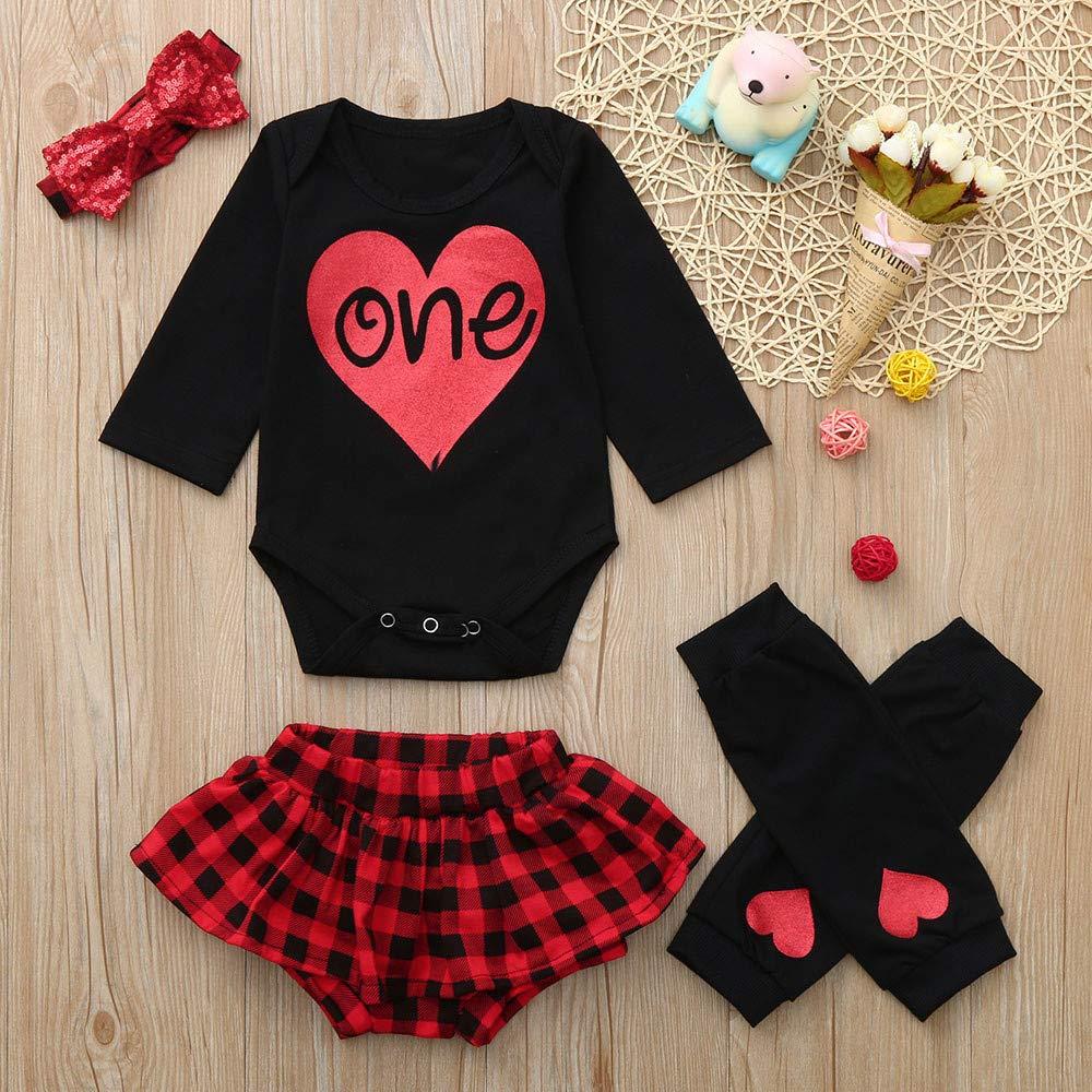 KONFA Toddler Newborn Baby Girls 4Pcs Outfits Fall Winter Clothes,One Print Romper+Plaid Shorts+Leggings+Sequins Headband Set