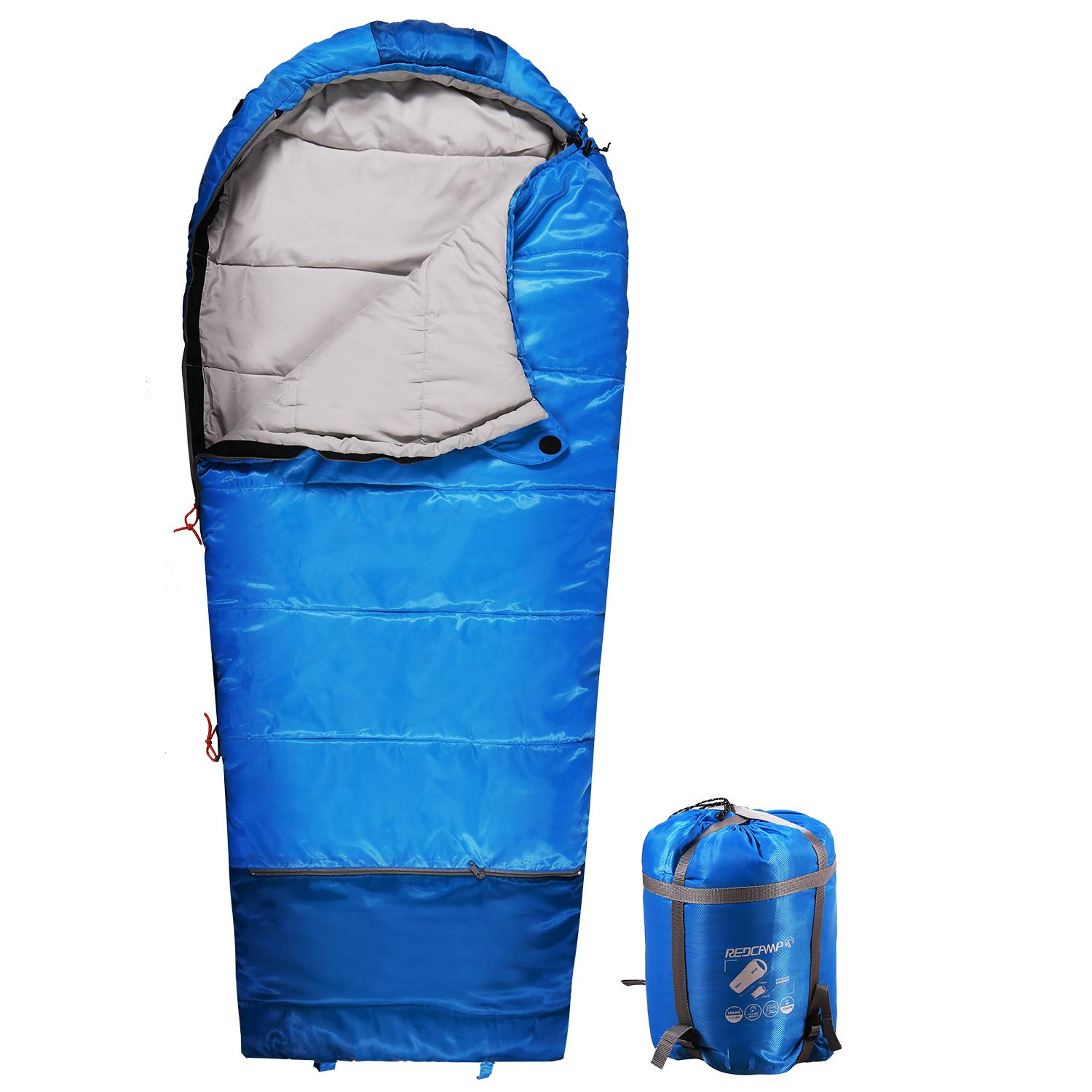 REDCAMP Kids Mummy Sleeping Bag for Camping Zipped Small, 32 Degree All Season Cold Weather Fit Boys,Girls & Teens (Blue with 3.3lbs Filling) by REDCAMP