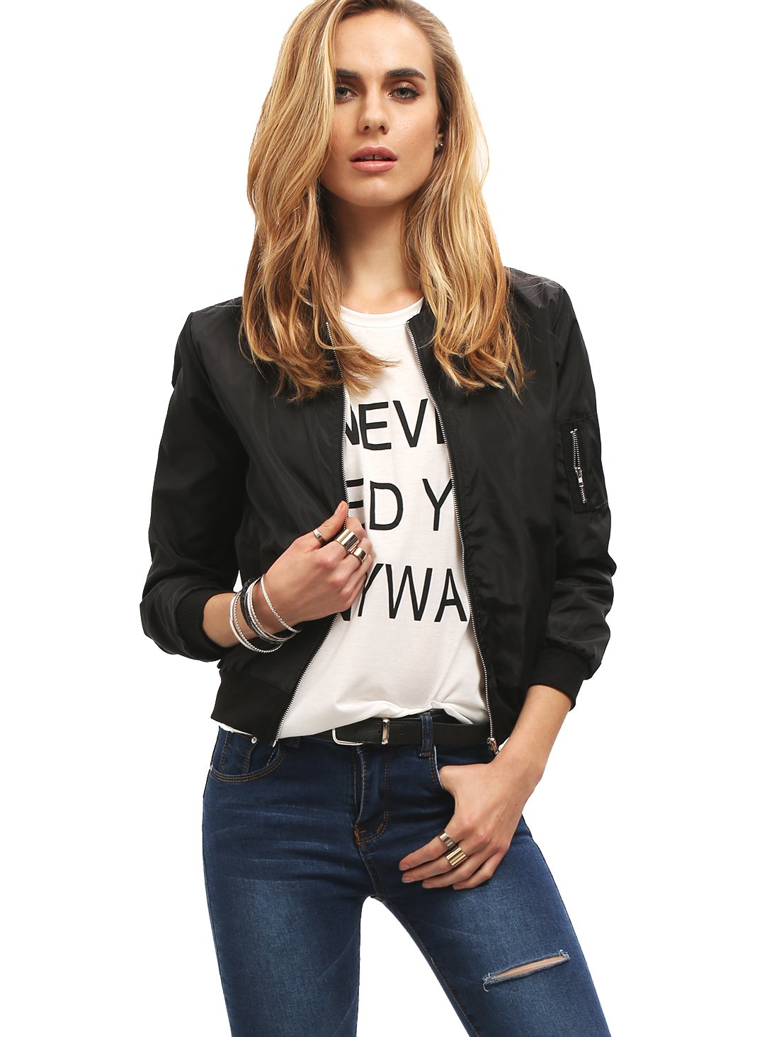 Romwe Women's Classic Zipper Short Bomber Jacket Coat Black S
