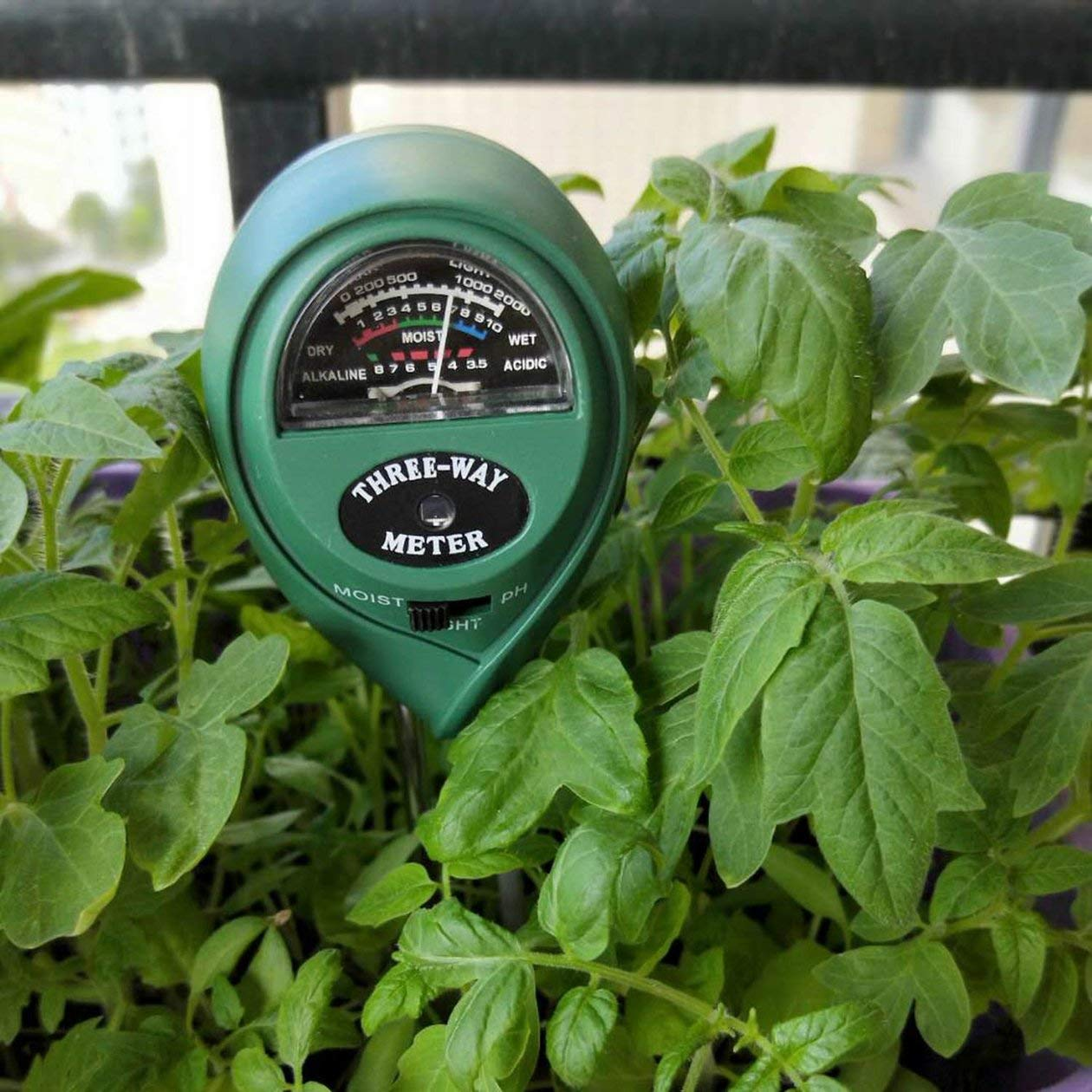 HONZIRY Higr/ómetro Exterior Medidor de pH del Suelo Medidor de luz de Humedad 3 en 1 Detector de pH Analizador Puntero Suelo para jard/ín Planta Flor Suelo Color: Verde