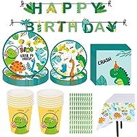 Decoracion de Fiesta Dinosaurio Cumpleaños Vajilla de Dinosaurios Desechable con Dino Platos Tazas Mantel Servilletas…