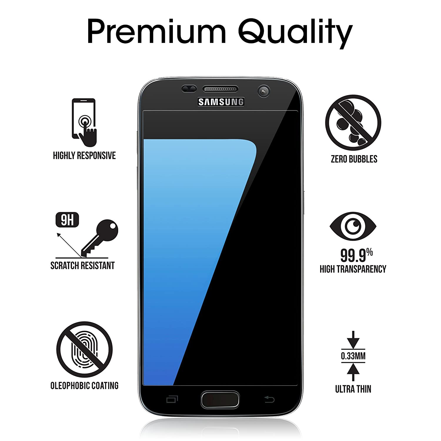 Details about Samsung Galaxy S7 amFilm Full Cover Tempered Glass Screen  Protector (Black)